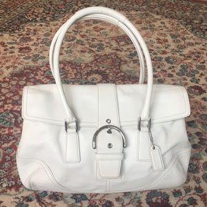Coach Soho Hampton's white leather flap satchel